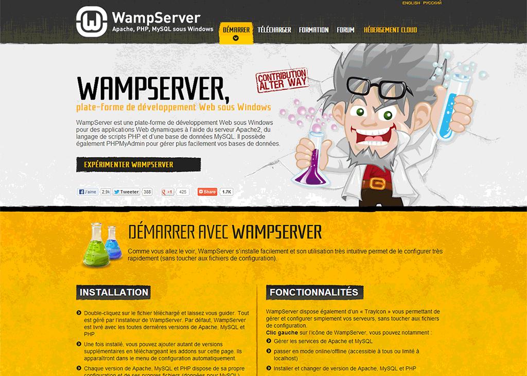 Le site de la plateforme WAMPSERVER...