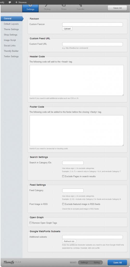 Le Themify Panel pour personnaliser votre thème
