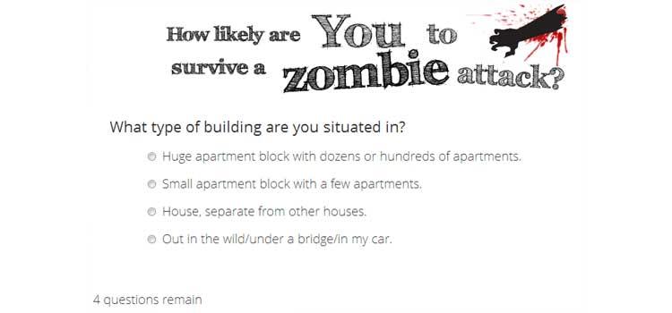Une exemple de quzz créé avec Viral Quizz Builder